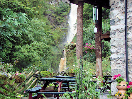 The tea terrace at Pistyll Rhaeadr