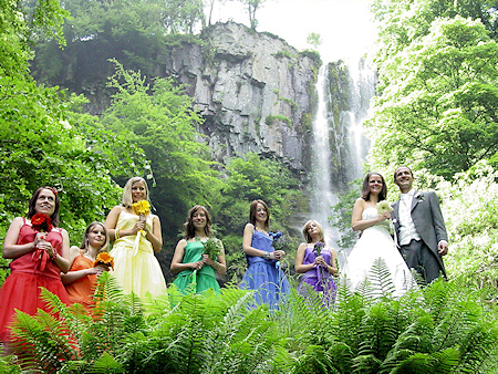 Wedding party at Pistyll Rhaeadr
